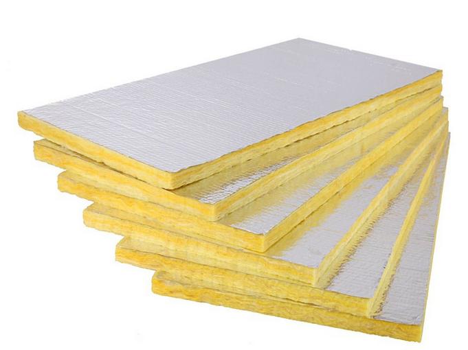 Fireproof aluminum foil clad glass wool heat insulation for Glass fiber board insulation